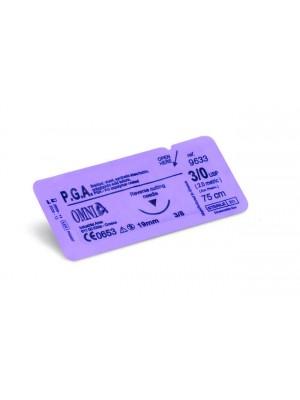 Sutura P.G.A 5/0, 45 cm. Ago: 12 mm, punta super tagliente, 3/8cerchio, dorso tagliente