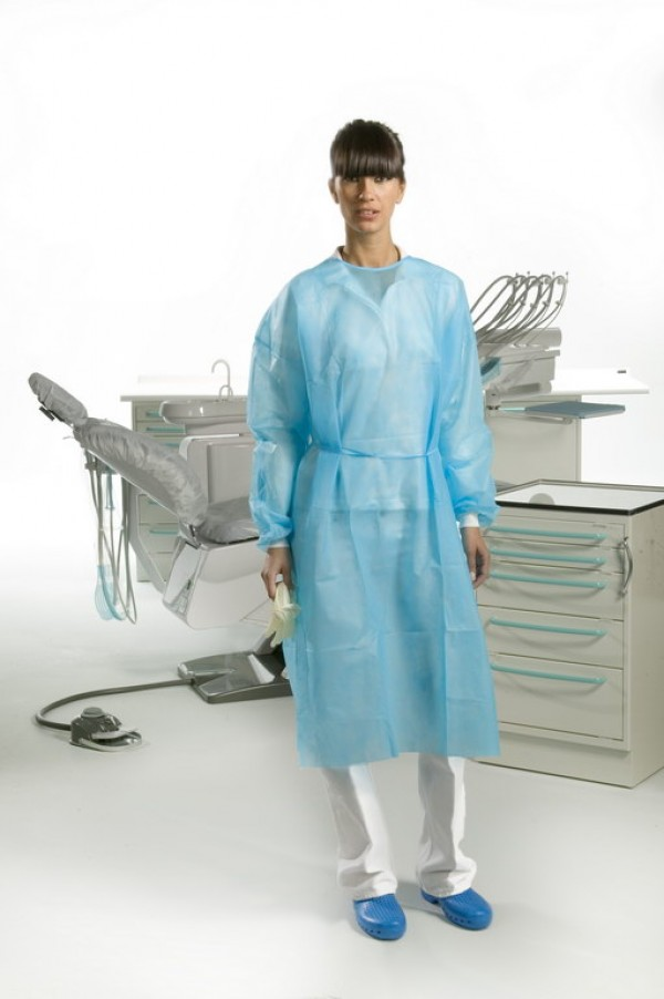 """Gown with cotton cuffs (length 43.34"""") light blue"""