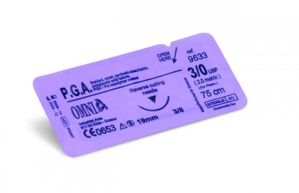 Sutura P.G.A. 5/0, 75 cm. Ago: 16 mm, punta tagliente, 3/8 cerchio, dorso tagliente