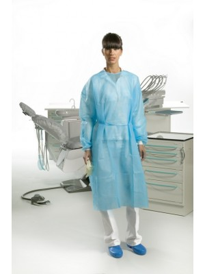 "Gown with cotton cuffs (length 43.34"") light blue"