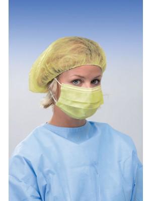 Masque à 3 couches avec élastiques anallergiques ronds jaune