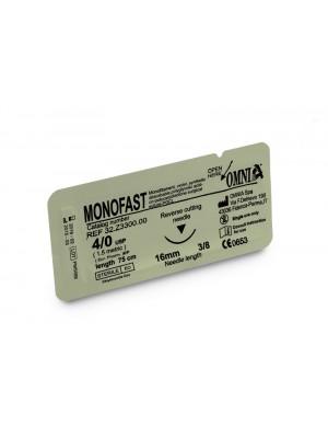 Sutura Monofast 4/0 75 cm. Ago: 16 mm, punta tagliente, 3/8 cerchio, dorso tagliente