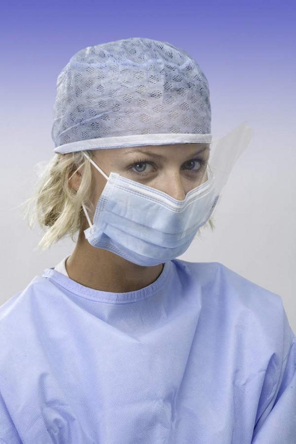 Mascherina a 3 strati con visiera di protezione ed elastici anallergici