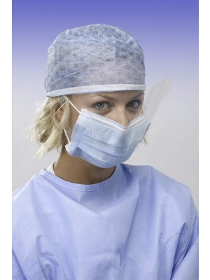 Three-layer face mask with splashguard visor and anallergic elastic bands