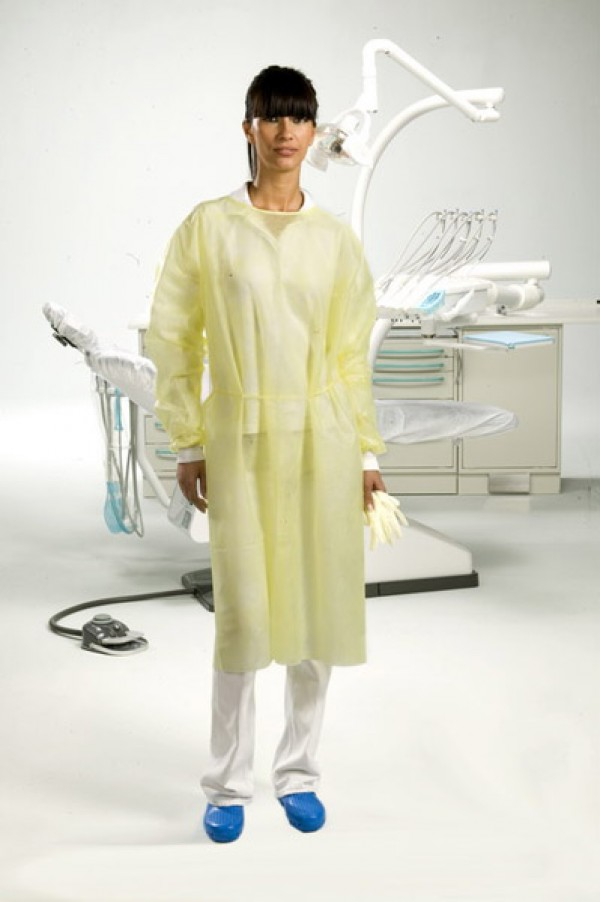 "Gown with cotton cuffs (length 43.34"") yellow"